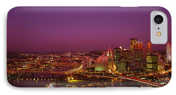High Angle View Of Buildings Lit IPhone Case by Panoramic Images