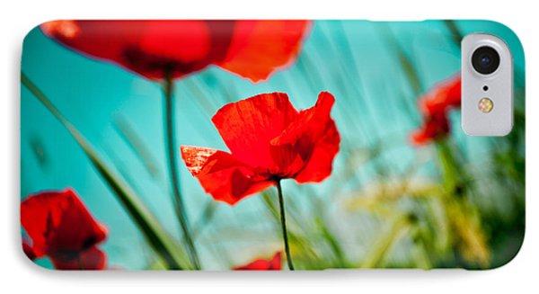 Poppy Field And Sky Phone Case by Raimond Klavins