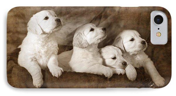 Vintage Festive Puppies Phone Case by Angel  Tarantella