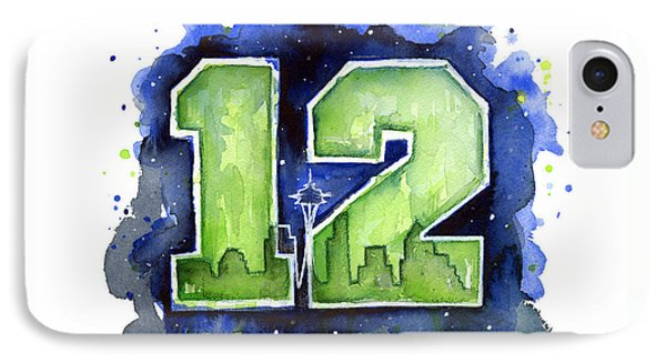 12th Man Seahawks Art Seattle Go Hawks IPhone Case by Olga Shvartsur