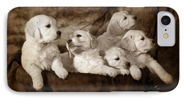 Vintage Festive Puppies Phone Case by Angel  Tarantella
