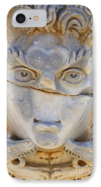Sculpted Medusa Head At The Forum Of Severus At Leptis Magna In Libya IPhone Case by Robert Preston