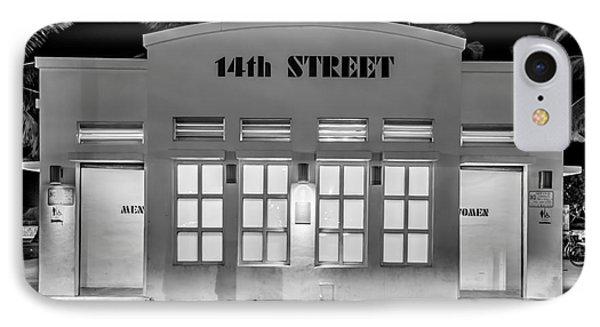 14th Street Art Deco Toilet Block Sobe Miami - Black And White IPhone Case by Ian Monk