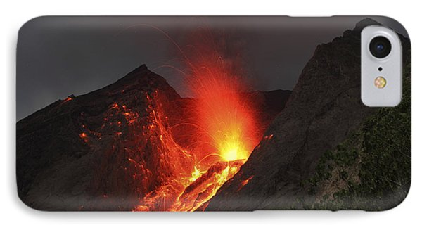 Strombolian Type Eruption Of Batu Tara Phone Case by Richard Roscoe