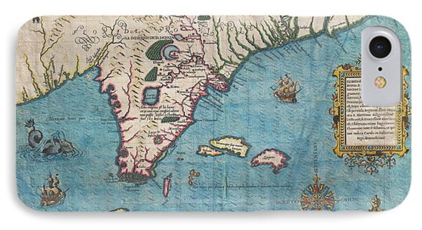 1591 De Bry And Le Moyne Map Of Florida And Cuba IPhone Case by Paul Fearn