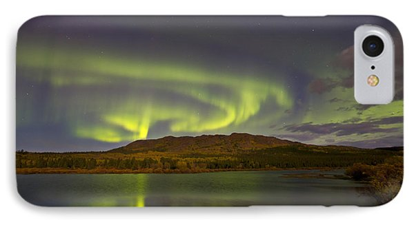 Aurora Borealis With Moonlight At Fish Phone Case by Joseph Bradley