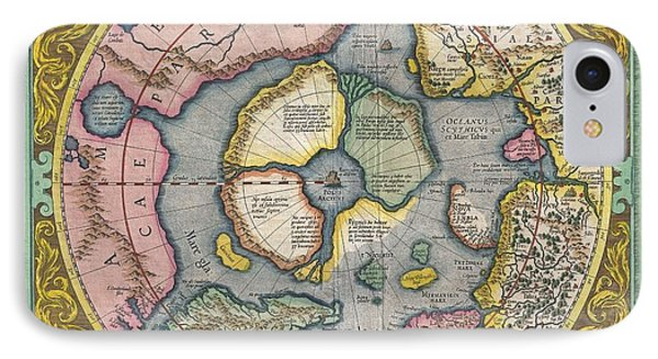 1606 Mercator Hondius Map Of The Arctic Phone Case by Paul Fearn