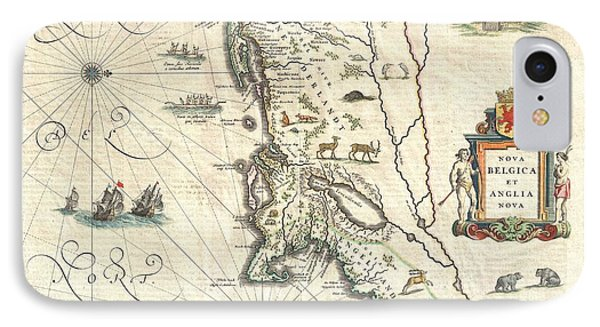 1635 Blaeu Map Of New England And New York Phone Case by Paul Fearn