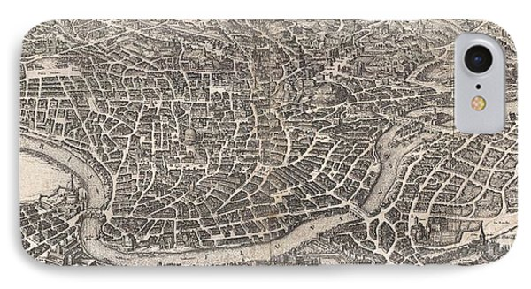 1652 Merian Panoramic View Or Map Of Rome Italy IPhone Case by Paul Fearn