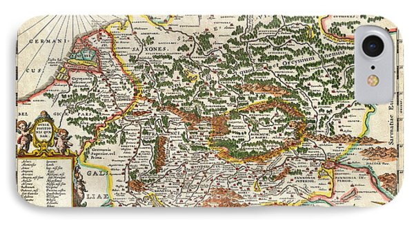 1657 Jansson Map Of Germany Germania Geographicus Germaniae Jansson 1657 IPhone Case by MotionAge Designs