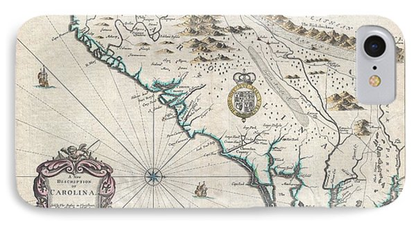 1676 John Speed Map Of Carolina IPhone Case by Paul Fearn