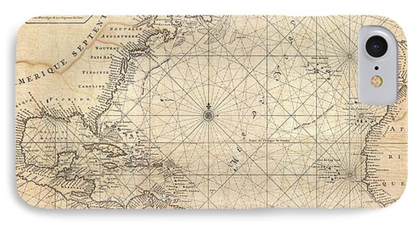 1683 Mortier Map Of North America The West Indies And The Atlantic Ocean  IPhone Case by Paul Fearn