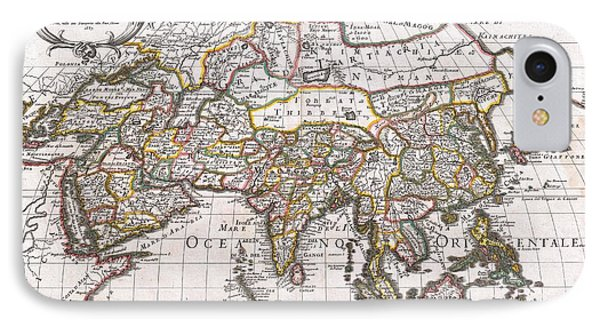 1687 Sanson  Rossi Map Of Asia IPhone Case by Paul Fearn