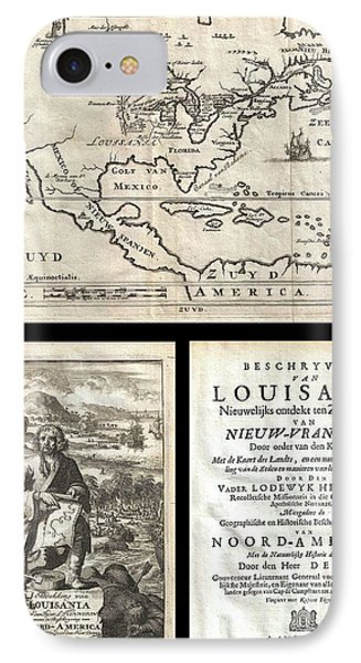 1688 Hennepin First Book And Map Of North America IPhone Case by Paul Fearn