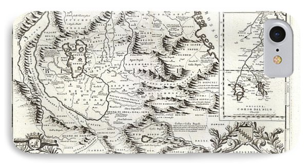 1690 Coronelli Map Of Ethiopia Abyssinia And The Source Of The Blue Nile Phone Case by Paul Fearn