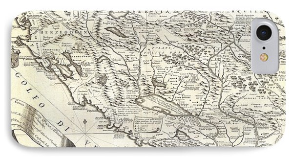 1690 Coronelli Map Of Montenegro IPhone Case by Paul Fearn