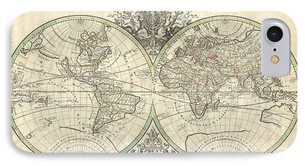 1691 Sanson Map Of The World On Hemisphere Projection Phone Case by Paul Fearn
