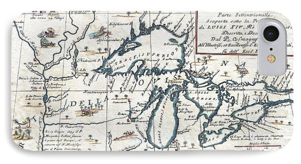 1696 Coronelli Map Of The Great Lakes Phone Case by Paul Fearn