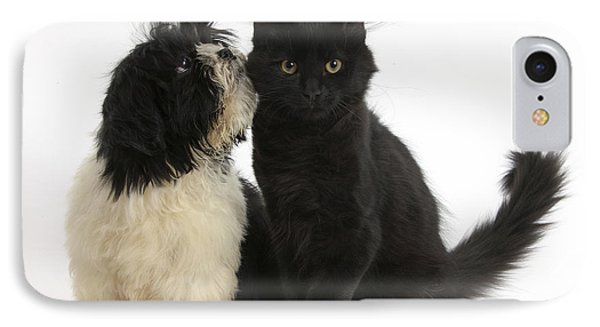Puppy And Kitten IPhone Case by Mark Taylor