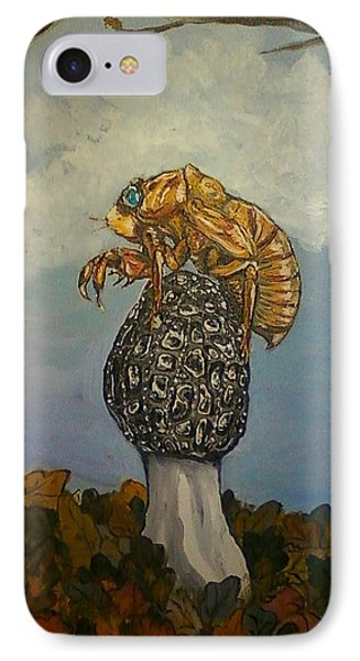 17 Year Cicada With Morel Phone Case by Alexandria Weaselwise Busen