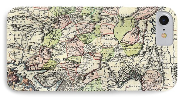 1700 Map Of India IPhone Case by Joseph Hawkins