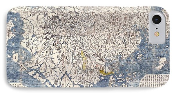 1710 First Japanese Buddhist Map Of The World Showing Europe America And Africa Phone Case by Paul Fearn