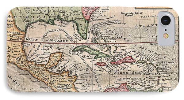 1732 Herman Moll Map Of The West Indies And Caribbean IPhone Case by Paul Fearn
