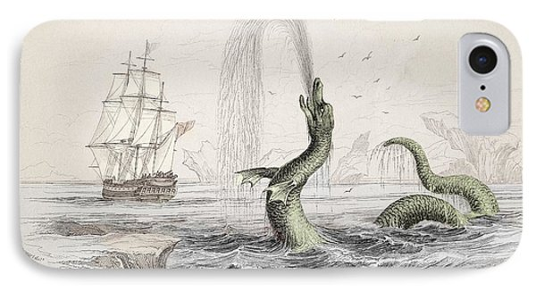 1734 Hans Egede Sea Monster Serpent Color IPhone Case by Paul D Stewart