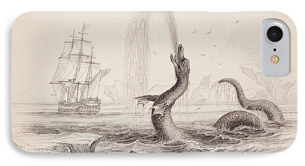 1734 Hans Egede Sea Monster Serpent IPhone Case by Paul D Stewart