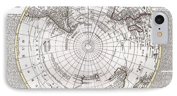 1741 Covens And Mortier Map Of The Southern Hemisphere South Pole Antarctic IPhone Case by Paul Fearn
