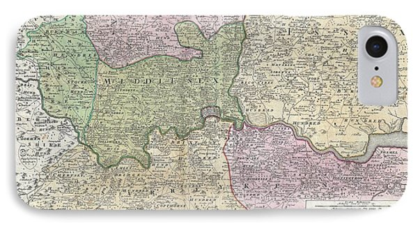 1741 Homann View And Map Of London IPhone Case by Paul Fearn