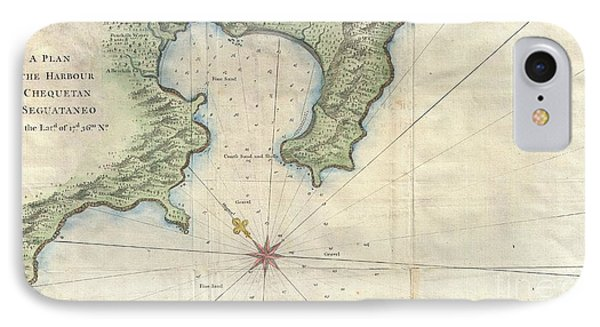 1745 Anson Map Or Chart Of Zihuatanejo Harbor Mexico IPhone Case by Paul Fearn