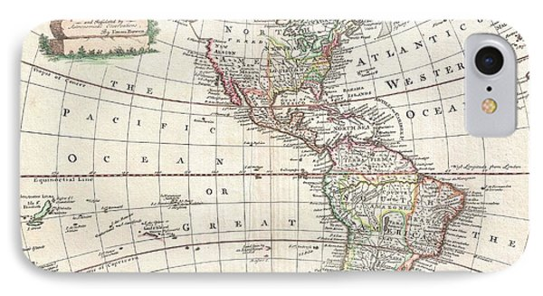 1747 Bowen Map Of North America And South America Phone Case by Paul Fearn