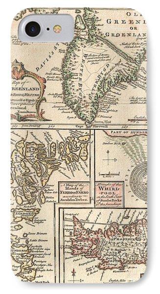 1747 Bowen Map Of The North Atlantic Islands Greenland Iceland Faroe Islands Phone Case by Paul Fearn
