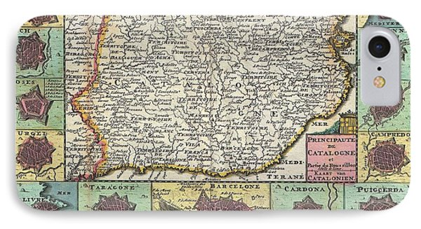 1747 La Feuille Map Of Catalonia Spain IPhone Case