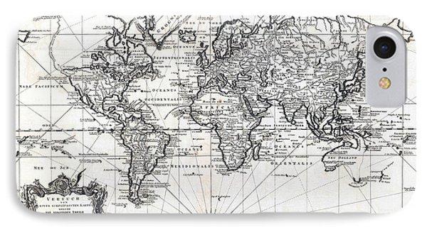 1748 Antique World Map Versuch Von Einer Kurzgefassten Karte  IPhone Case by Karon Melillo DeVega