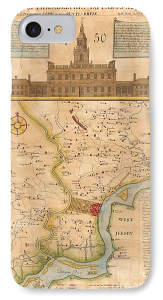 1752  Scull  Heap Map Of Philadelphia And Environs IPhone Case by Paul Fearn