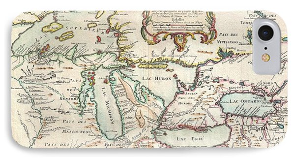 1755 Bellin Map Of The Great Lakes IPhone Case by Paul Fearn