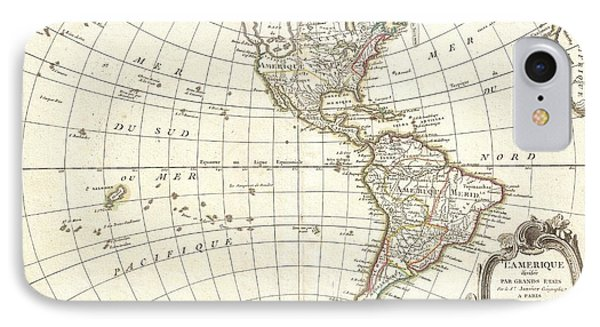 1762 Janvier Map Of North America And South America  IPhone Case by Paul Fearn