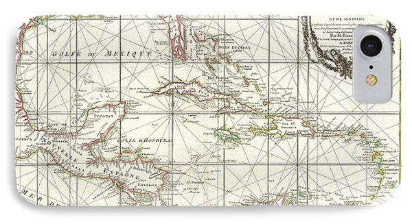 1762 Zannoni Map Of Central America And The West Indies IPhone Case by Paul Fearn