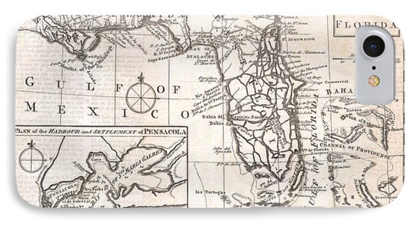 1763 Gibson Map Of East And West Florida Phone Case by Paul Fearn