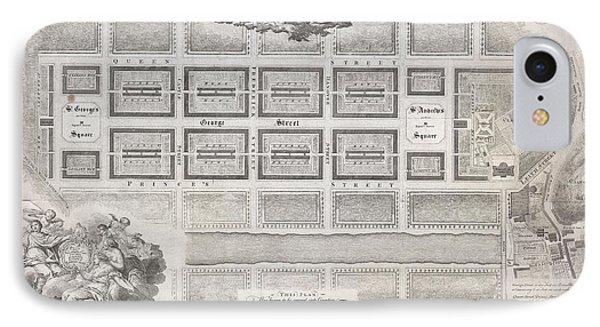 1768 James Craig Map Of New Town Edinburgh Scotland  IPhone Case by Paul Fearn