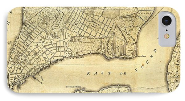 1776 New York City Map IPhone Case by Dan Sproul