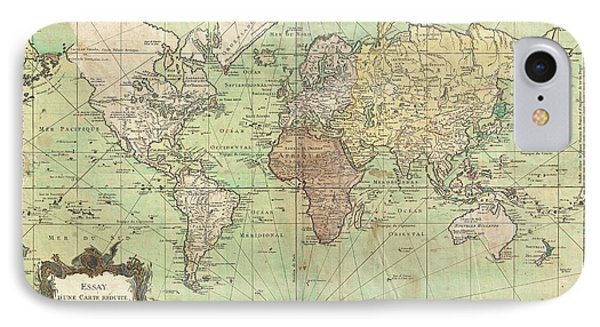 1778 Bellin Nautical Chart Or Map Of The World IPhone Case by Paul Fearn