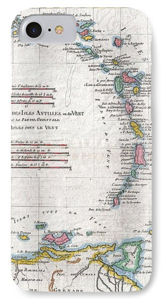 1780 Raynal And Bonne Map Of Antilles Islands IPhone Case by Paul Fearn