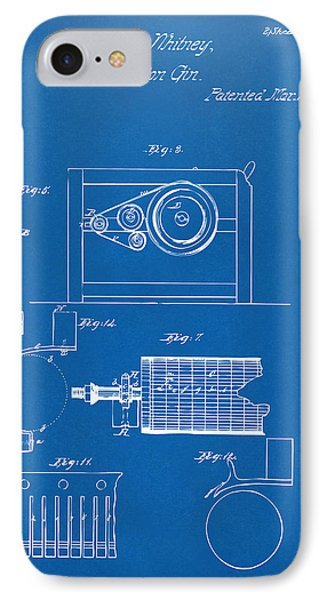 1794 Eli Whitney Cotton Gin Patent 2 Blueprint IPhone Case by Nikki Marie Smith