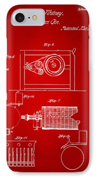 1794 Eli Whitney Cotton Gin Patent 2 Red IPhone Case by Nikki Marie Smith