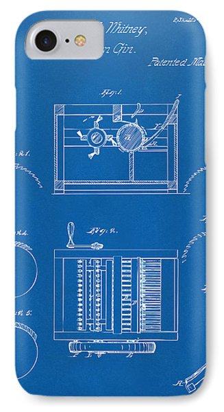 1794 Eli Whitney Cotton Gin Patent Blueprint IPhone Case by Nikki Marie Smith