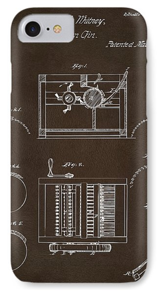 IPhone Case featuring the drawing 1794 Eli Whitney Cotton Gin Patent Espresso by Nikki Marie Smith