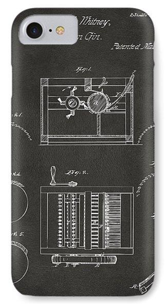 1794 Eli Whitney Cotton Gin Patent Gray IPhone Case by Nikki Marie Smith